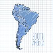 Vector pen hand drawn South America map on paper illustration — Stock Vector