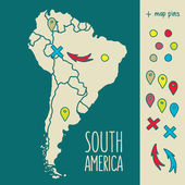 Vintage Hand drawn South America travel map with pins vector illustration — 图库矢量图片