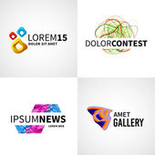 Set of modern colorful abstract news web contest gallery logo emblem vector design elements — Stock Vector