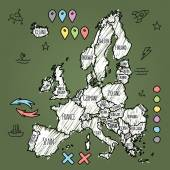 Doodle Europe map on green chalkboard with pins and extras vector illustration — ストックベクタ