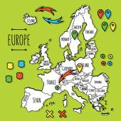Cartoon style hand drawn travel map of Europe with pins vector illustration — Stock Vector
