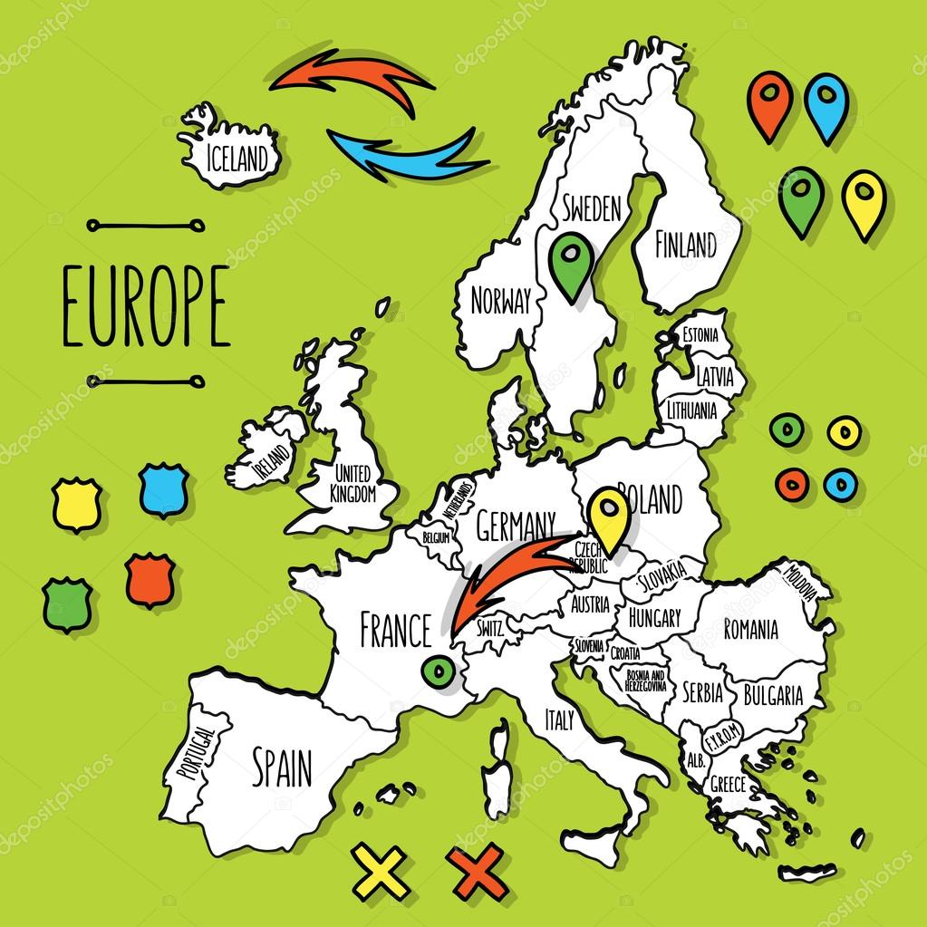 Cartoon style hand drawn travel map of Europe with pins vector – Travel Maps Europe