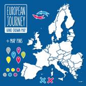 Cartoon style hand drawn journey map of europe with pins vector illustration — Stock Vector