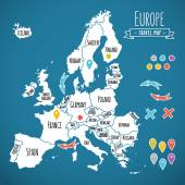 Hand drawn Europe travel map with pins vector illustration — Stock Vector