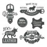 Set of vector vintage belt logo designs, retro quality labels. genuine leather illustration — Stock Vector #74694079