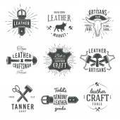 Second set of grey vector vintage craftsman logo designs, retro genuine leather tool labels. artisan craft market insignia illustration — Stock Vector