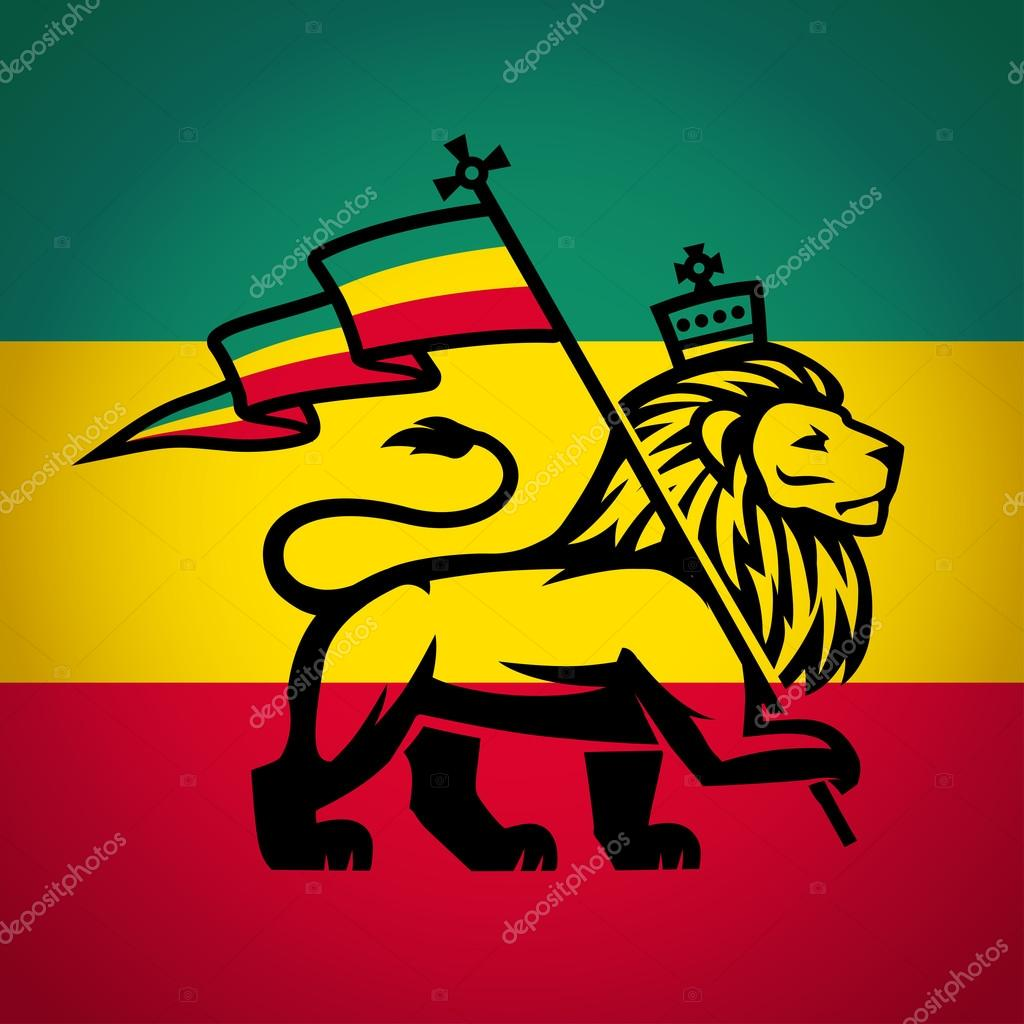 Rastafarian 2: Judah Lion With A Rastafari Flag. King Of Zion Logo