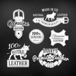 Set of leather quality goods vector designs. Vintage belt logo, retro labels. genuine illustration on dark background — Stock Vector #77280848
