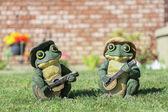 Two frogs play guitar — Zdjęcie stockowe