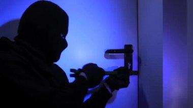 Burglar breaking a door — Stock Video