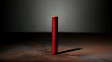 Red firecracker explodes — Stock Video