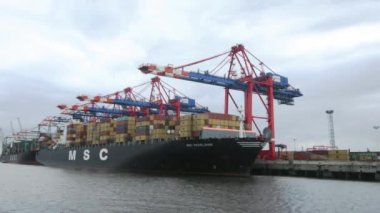 Container ship, time lapse — ストックビデオ