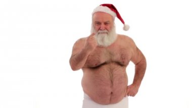 Santa Claus in bathroom — Stock Video
