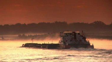 Ship on River Rhine, sunset — Stock Video