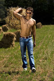 Good looking man carry hay — Stock Photo