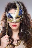 Girl with Venetian mask — Stock Photo