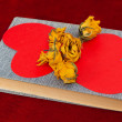 Five yellow roses and two red paper hearts lying on the book — Stock Photo #63574399