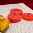 Three red candles and two dried yellow roses lying on the book — Stock Photo #63574319
