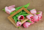 A bouquet of pink tulips with satin ribbon and wooden frame — Stock Photo
