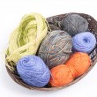 Different colour yarn in a basket — Stock Photo #63605811