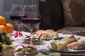 Holiday Table With Appetizers — Stock Photo