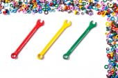 Mix of color nuts and bolts — Foto de Stock