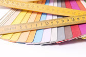 Color Palette and metric folding ruler — Stock Photo
