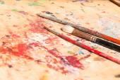 Three old paintbrushes — Stock Photo