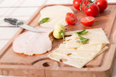 Delicious Meat And Cheese Slices With Tomatoes — Stock Photo