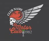 Motor skull sticker and club — Vector de stock