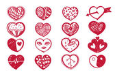Sketch heart set and valentine's day. — Stock Vector