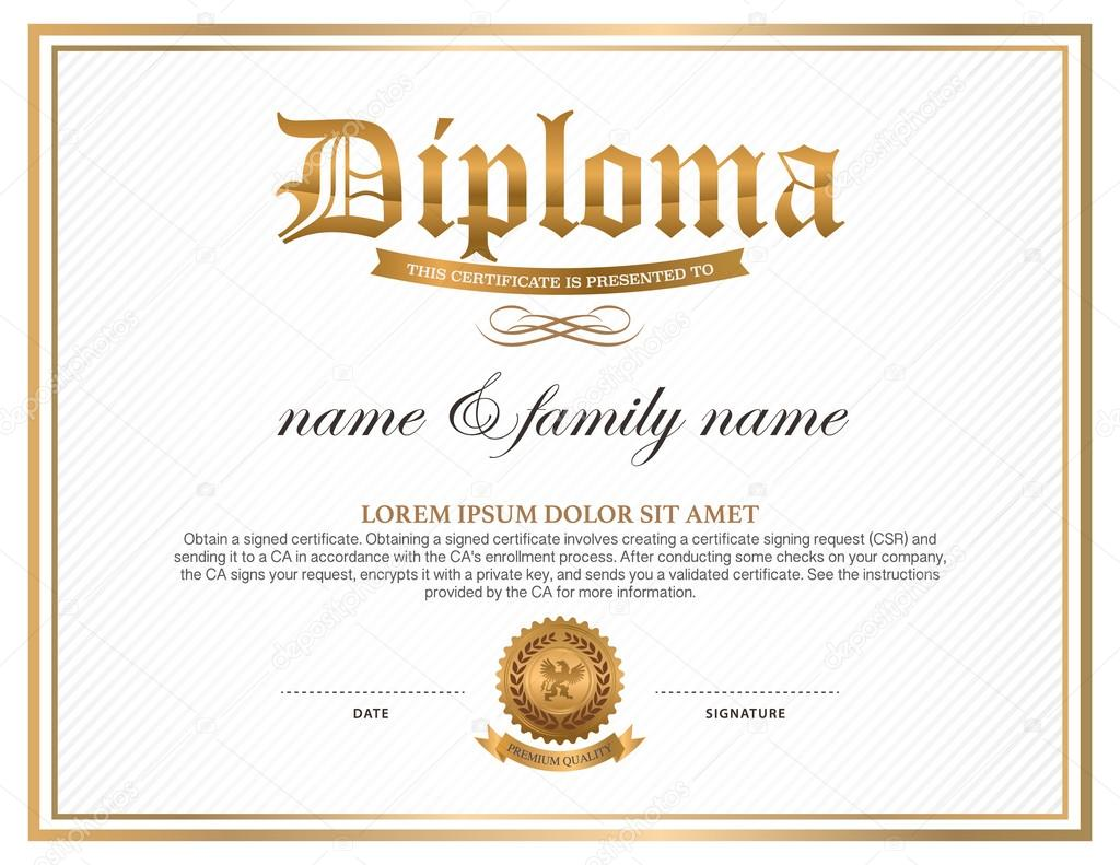 Diploma plantilla de dise o de certificados vector de for Diplomas and certificates templates
