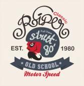 Motor logo graphic design. logo, Sticker, label, arm — Stockvektor