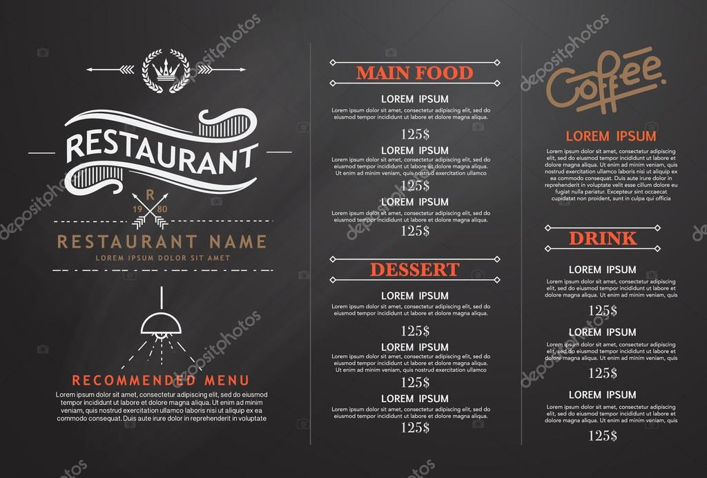 Vintage and art restaurant menu design stock vector for Artistic cuisine menu