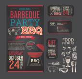 Barbecue party BBQ template menu design set. name card, gift vou — Stock Vector