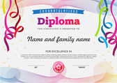 Diploma color full template and chart borders — Stock Vector