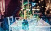 Sparkling wine bottle sparkling stars around. Tell the festive s — Stock Photo