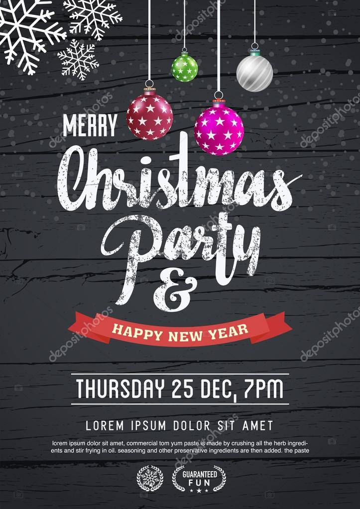 Merry Christmas And New Year Poster Template. — Stock Vector