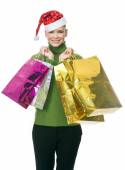 Woman with christmas hat — Stock Photo