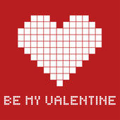 Gift card for a Valentines day in pixel art style, vector illustration — Stock Vector