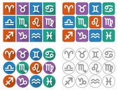 Astrological signs of the zodiac. Flat square, rounded and circle icons with long shadow. Vector Illustration. — Stock Vector