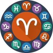 Signs of the zodiac circle - Aries. Astrological flat icon — Stock Vector