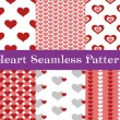 Heart seamless patterns. Red and pink color. Endless tiling texture for printing onto fabric and paper or scrap booking. Valentines day vector background for invitation. — Stock Vector #64434491