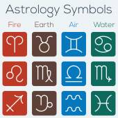 Astrological signs of the zodiac. Flat thin line icon style vector set of astrology symbols. — Stock Vector