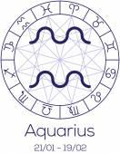 Zodiac sign - Aquarius. Astrological symbol in wheel. — Stock Vector