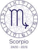 Zodiac sign - Scorpio. Astrological symbol in wheel. — Stock Vector
