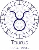 Zodiac sign - Taurus. Astrological symbol in wheel. — Stock Vector