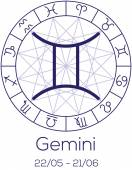 Zodiac sign - Gemini. Astrological symbol in wheel. — Stock Vector