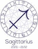 Zodiac sign - Sagittarius. Astrological symbol in wheel. — Stock Vector