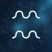 Zodiac sign - Aquarius. White thin simple line astrological symbol on blurry abstract space background with astrology chart. — Stock Photo